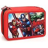 Marvel Vengadores 63224 Estuche 3 bisagras, Plumier Triple, 44 Piezas
