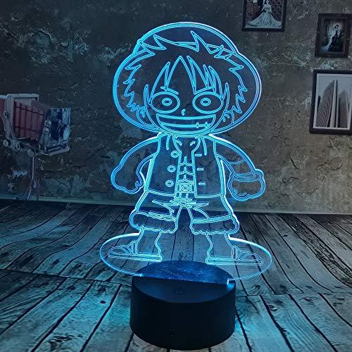 WangZJ 3d Illusion Lampe / 3d Nachtlicht / 3d Led Lampe Nachtlicht/Weihnachtsgeschenk/Schlafzimmer Nachttischlampe /Affe D Ruffy (Laterne Ring Rote Leuchten)