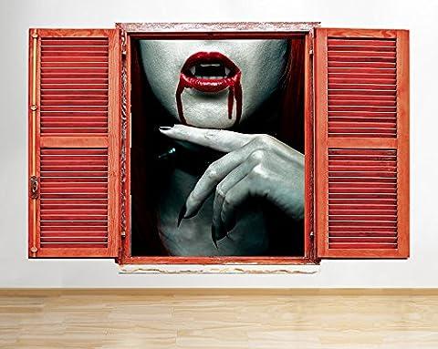 Q864 Vampire Girl Red Horror Cool Window Wall Decal 3D Art Stickers Vinyl Room