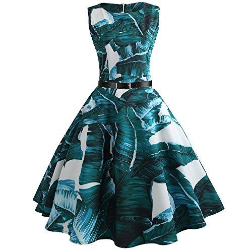 Qmber Vintage 1950er Partykleid Rockabilly Lange Ärmel Retro CocktailKleid Jumpsuit Kurz Ballkleid Kleiderbügel Damenkleider Kurz Hepburn Kleid