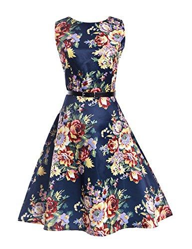 Damen Drucken Empire Kleid Elegant Etuikleid abendkleid ärmellos Kleider Übergröße Stil 03