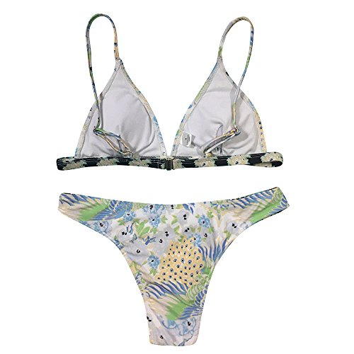 TOPKEAL Bade Beachwear Badeanzug Damen Neckholder Bademode Push up Tankini Bandeau mit Bikini Triangle (Mehrfarbig, Medium)
