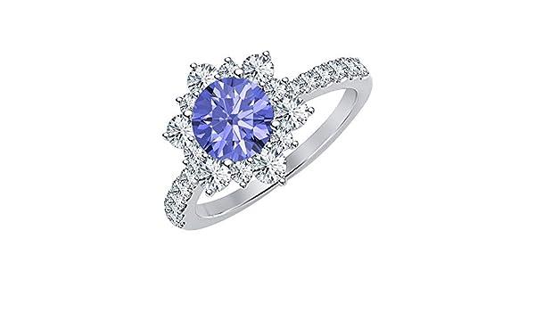 RUDRAFASHION 14K Gold Plated Round White Diamond /& Tanzanite Engagement Wedding Cluster Flower Ring