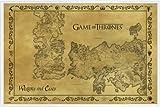 Game Of Thrones Poster und Kunststoff-Rahmen - Antike Landkarte Von Westeros Und Essos, Vintage Style (91 x 61cm)