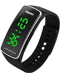 SKMEI Bracelet en silicone Montre Digital Sport Montres avec LED (Argent)