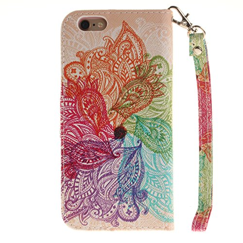 "Etsue Brieftasche Ledertasche für iPhone 6 Plus/6S Plus 5.5"" Leder Flip Case Hülle [Schmetterling Blume Muster], Retro Elegant Bookstyle Butterfly Leder Cover Flower Wallet Tasche Schutzhülle Handyhül Lanyard, Bunte Floral Mandala"