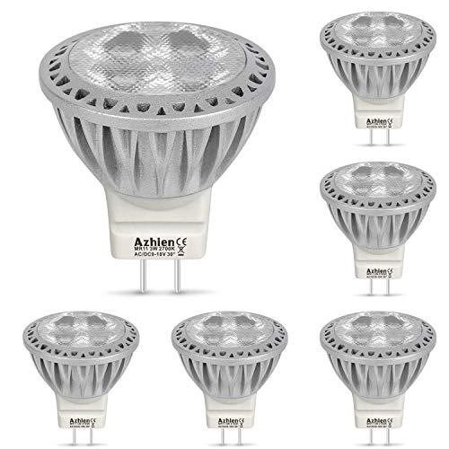 Led GU4 MR11 LED 12V Lampen Warmweiß Azhien, 2700K, 3W, 250LM , LED Spot mit 35mm Durchmesser und 38mm Höhe, Mini Größe, ersetzt 10W, 20W, 28W, 35W, Halogenlampen, 30 Grad Abstrahlwinkel, 6er Pack