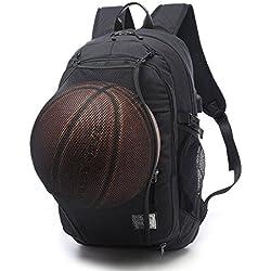 moyun 2en 1Laptop Mochila 17pulgadas con USB puerto de carga y bolsillo de malla oculto Paso Mountain–Mochila multifunción, mochila de baloncesto, negro