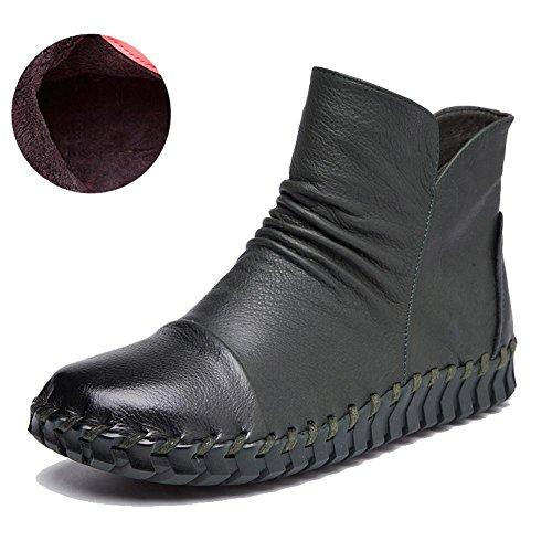 Femmes Bottes À La Main À Coudre Retro Courte Plus Épaisse En Cuir En Peluche Zipper Talon Plat Chaud Occasionnel Chaussures