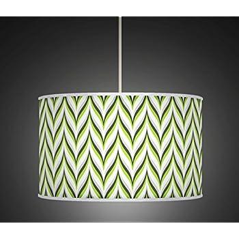 20 Green Grey Retro Geometric Handmade Giclee Style Printed Fabric Lamp Drum Lampshade Floor or Ceiling Pendant Light Shade 353 50cm