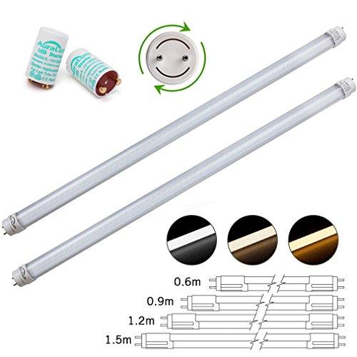 Ersetzen Leuchtstoffröhren (2 Stü DM T8 G13 LED Leuchtstofflampe aus transparente gestreife Deckung, 150CM lang 24W in warmweiß (2800-3200K), das Ende der Röhren ist drehbar)