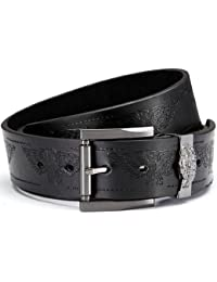 Leather belt with PU, jeans belt in black with embossed eagle