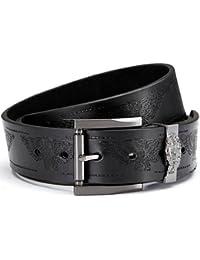 Ceinture en cuir PU, des jeans ceinture en noir avec l'aigle en relief, Boucle: 4,9 x 5,1 cm