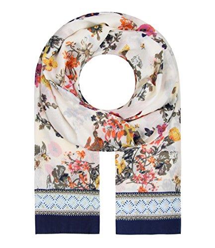 Majea Schal Damen Tuch gemustert tolle Halstücher viele Farben Muster Tücher Halstuch Schals (creme 20)