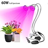 Derlights 60W Dual Head LED Grow Light, Full Spectrum Desk Clip Grow Lamp with 360� Flexible Metal Arms & Double on/off Switch for Indoor Plant Office Home Garden Greenhouse
