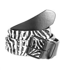 Accessoryo - zèbre noir et blanc rayé impression ceinture noire cloutée disponible dans une sélection de tailles