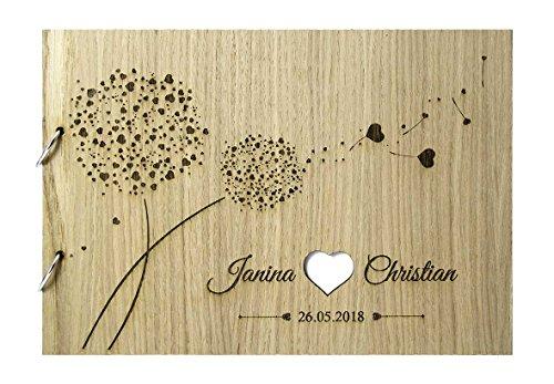 Livingstyle & Wanddesign Rustikales Gästebuch aus Holz zur Hochzeit mit Namen und Datum, Pusteblumen weiss (Motiv 10, 76 Seiten/38 Blatt)