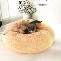 QUICK SHEL Fluffy Dog Bed for Small Breeds(Shihtzu, Chihuahua, Pekingese OR Small Puppies) Comfortable Donut Cuddler Round Dog Bed Ultra Soft Washable Dog and Cat Cushion Bed S Pet Bed (Beige)