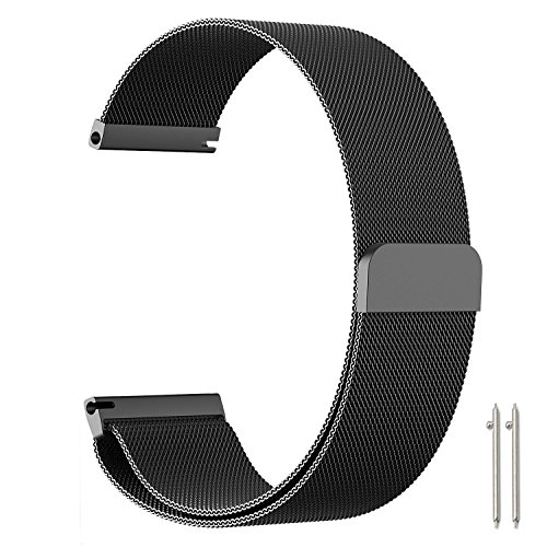 Holly_fun 18mm Replacement Smartwatch Band Fossil Q Men & Women Milanese Loop Magnetic Clasp Mesh Stainless Steel Metal Bracelet Strap Quick Release Watch Band Smart Watch(Black, 18mm)
