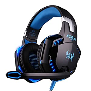EasySMX Comfortable LED 3.5mm Stereo Gaming LED Lighting Over-Ear Headphone Headset Headband with Mic for PC Computer Game With Noise Canelling & Volume Control