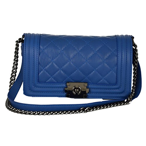 Borsa Donna In Pelle Trapuntata E Tracolla In Pelle E Catena Colore Blu - Pelletteria Toscana Made In Italy - Borsa Donna
