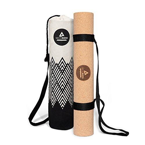 De entrenamiento y yoga estera de corcho y caucho en 3mm Grosor de 100% ecológicos, naturales y materiales antideslizantes.–Alfombrilla Alergia Incluye plumas Yoga Bolsa de lino