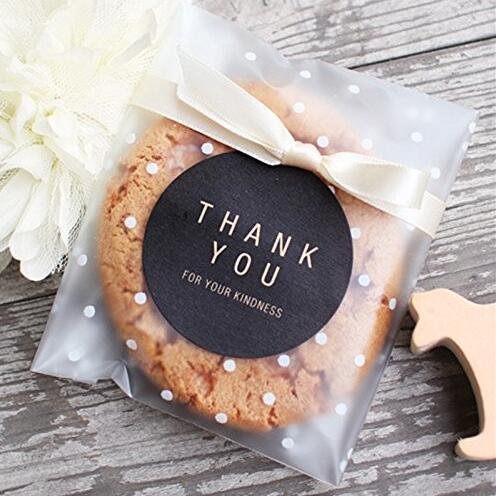 yunko weiß Dots Selbstklebende Kunststoff Cookie Staubbeutel für Geschenk geben 200 Beutel + 100 Thank You Etiketten, plastik, weiß, 3.94 * 3.94+1.18 Inch - Jar Süßigkeiten Candy