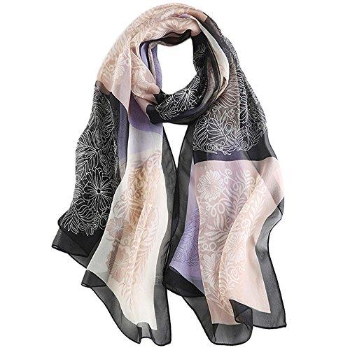 WZTP Schals Damen 100% seide Stola Seidenschal Elegante Stilvolle leichte Scarf für Frauen 68.8'' x 25.5'' Mehrfarbig (Arm Bild Licht)