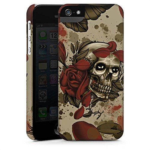 Apple iPhone 5 Housse étui coque protection Tatouage Rock n Roll Tête de mort CasStandup blanc