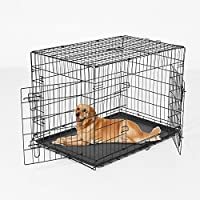 Pawhut – Gabbia Trasportino per Animali Domestici Pieghevole in Acciaio Doppia Porta 122 × 77 × 82cm Nero