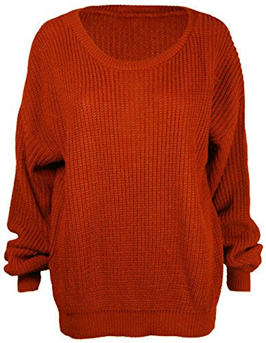 New Women Plain Chunky Knitted Baggy Oversize Fit Jumper Long Sleeve Sweater Top Rust