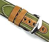 22mm Canvas Tessile Verde Rios Realizzato a mano Germany tedesco cinturino in pelle bianco cucitura 22/22mm di nastro retro look Quality militare, Marine Strap Top qualità