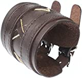 Brown Leather Wide Double Strap Cuff Wrap Gothic Wristband Buckle Fastening - 47