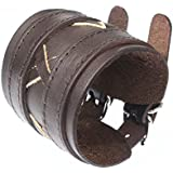 Leather Wide Double Strap Cuff Wrap Gothic Wristband Buckle Fastening