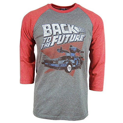 Mens Back To The Future Raglan T Shirt Grey Medium Heather Grey