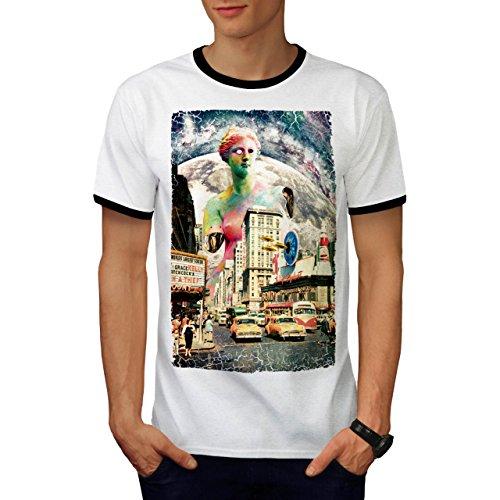 Abstrakt Stadt UFO Mode Invasion Herren M Ringer T-shirt | Wellcoda (Ufo-capris)