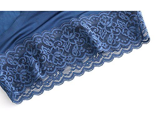 Sisann 3er Set Damen Unterhose Panties Hipsters Slips Strings Tangas Nahtlos Seamless Spitze Blau+Schwarz+Rotwein