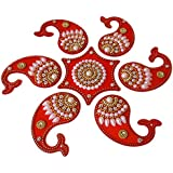 Anaya Industries Acrylic Pearl And Rhinestone Work Rangoli (18 Cm X 18 Cm X 2 Cm, Red)