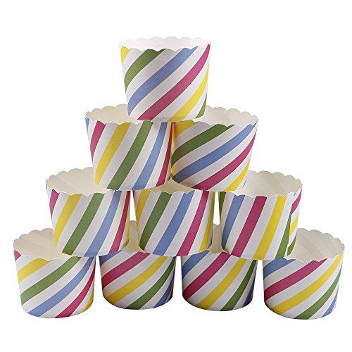 Webake 25 Stück- Set Muffin Papierförmchen in buten Farbe mit schiefen Streifen für Muffin Bronnie Cupcake (Streifen Schiefe)
