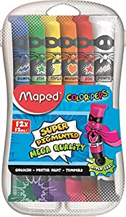 Maped - Peinture Gouache Enfant - 12 Couleurs Intenses Super Pigmentées - Facile à Ouvrir - Bouchon à Clapet -