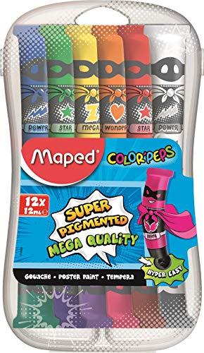 Maped - Peinture Gouache Enfant - 12 Couleurs Intenses Super Pigmentées - Facile à Ouvrir - Bouchon à Clapet - Boîte Plastique Incassable avec Compartiments de Dilution - 12 Tubes de 12 ml