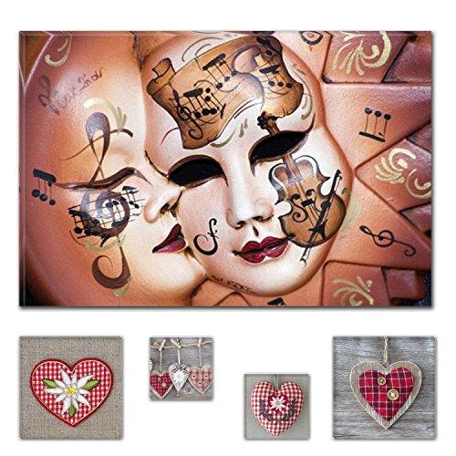 Eco Light Art Wand Leinwand Bundle faszinierenden Musik Masken 60x 90cm für Home Décor und Liebenswürdig, Wohnzimmer oder Schlafzimmer, Love Collage Set von 4Artwork modernen (Masken Halloween Clearance)