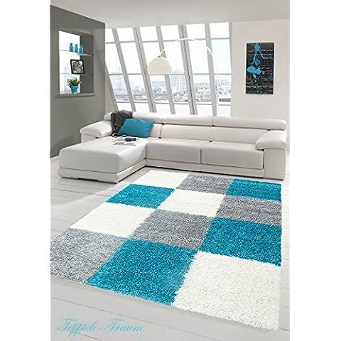 Lanuda alfombra lanuda largo pelo de la alfombra alfombra de la sala con dibujos en Karo Diseño Turquesa Gris Crema Größe 60x110
