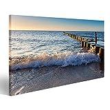 islandburner Bild Bilder auf Leinwand Wellen am Strand auf Ostsee Wandbild, Poster, Leinwandbild EKS