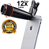 #1: Meya Happy® Universal 12X Optical Zoom Telescope Lens for Mobile Phone Camera with Adjustable Clip