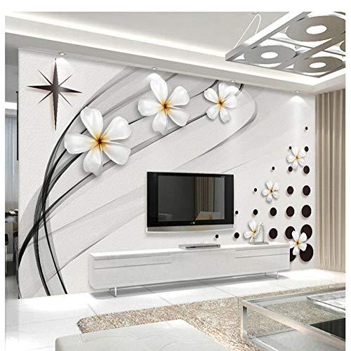 Finloveg Moderne Mode Wandbild Tapete 3D Stereo Schwarz Und Weiß Keramik Blume Foto Wandmalerei Wohnzimmer Tv Sofa Hintergrund Wand 3D-350X250Cm -