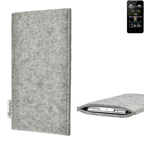 flat.design Handy Hülle Porto für Allview P4 Pro maßgefertigte Handytasche Filz Tasche Schutz Case fair grau