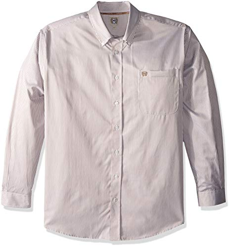 Cinch Men's Classic Fit Long Sleeve Button One Open Pocket Stripe Shirt -