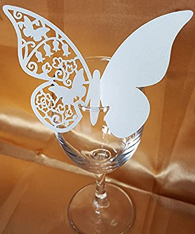 DIKETE® 50pcs Butterfly Place Cards Party Wedding Wine Glass Cup Decoration card [3D] [Hollow Pattern] Postcards Wall Decals Sticker for Christmas Engagement Birthday Favor [White 2] + 60pcs Glue