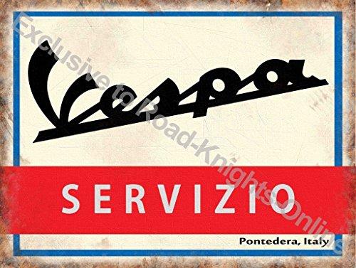 Vespa Scooter Sevizio. Servizio firmare in Italiano. Logo su bianco, rosso e blu indietro terra. Vecchio rétro vintage per casa, Casa, garage, shop, barrette o pub. Metallo/Targa Da Parete in Acciaio - 20 x 30 cm